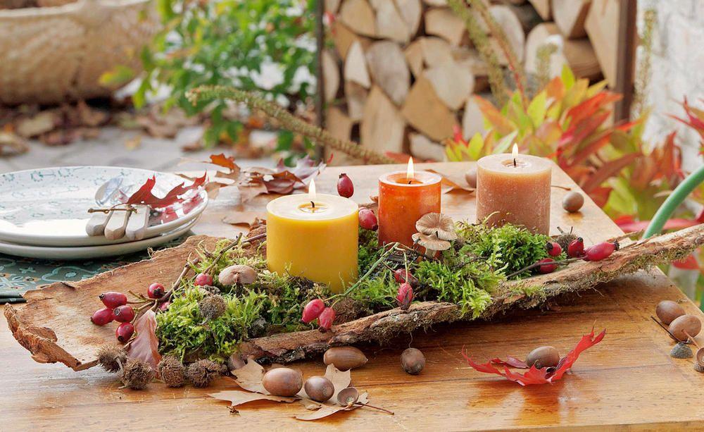 Deko-Idee mit Baumrinde für den herbstlichen Tisch