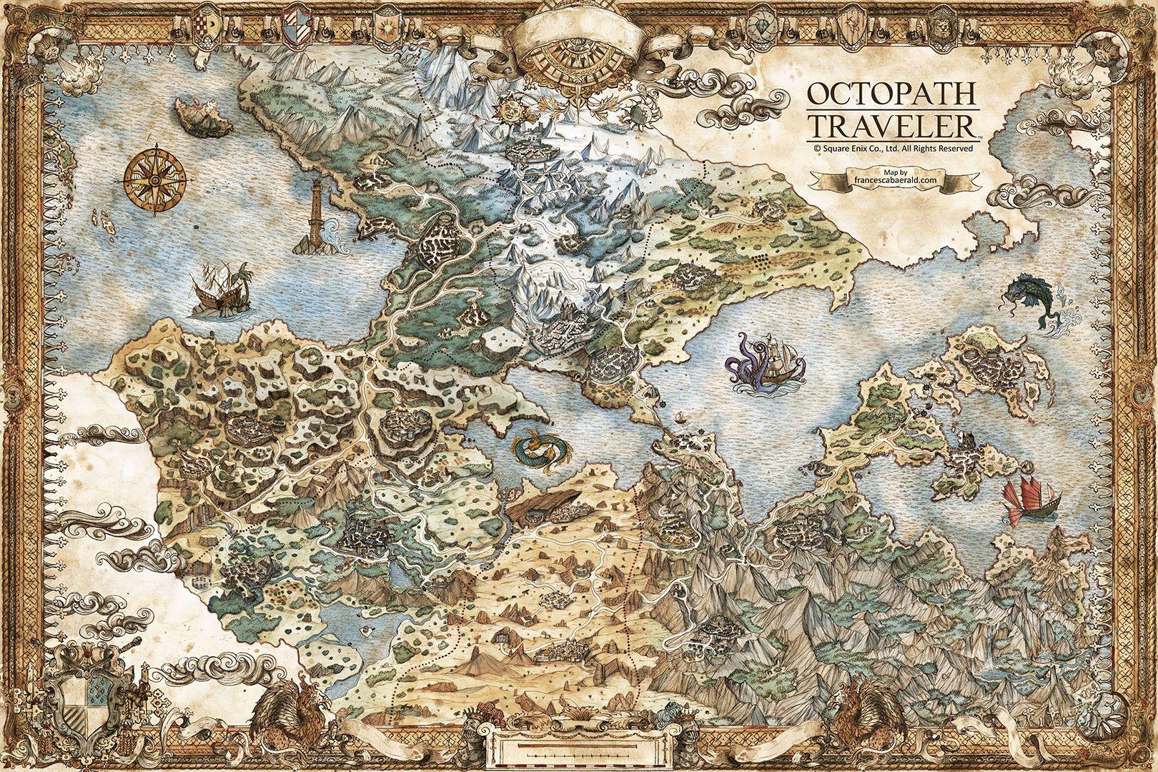 Octopath Traveler World Map ArtStation   Octopath Traveler   Map of Orsterra, Francesca