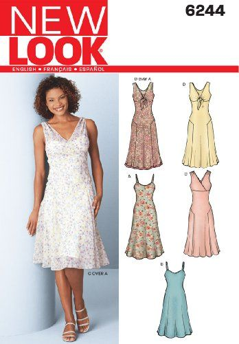 New Look Sewing Pattern 6244 Misses Dresses, Size A (8-10-12-14-16 ...