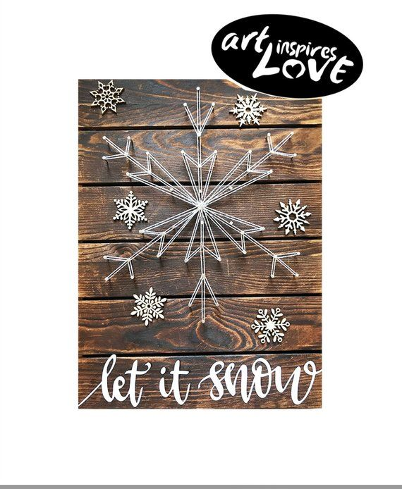 Diy String Art Kit Let It Snow Snowflake String Art Diy Arts