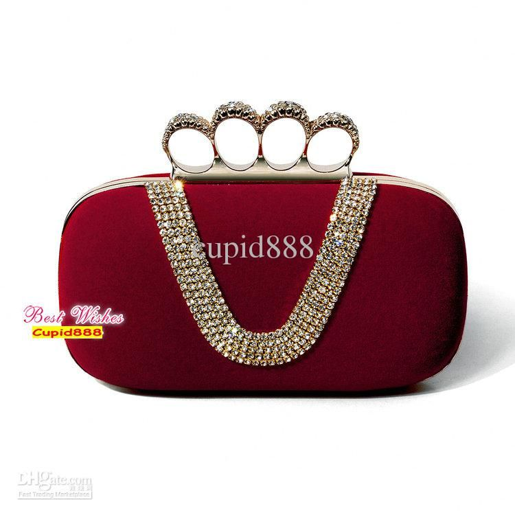 Noble Wine Red Velvet Clutch Bag Shining Diamond Handbag Princess Evening Wedding