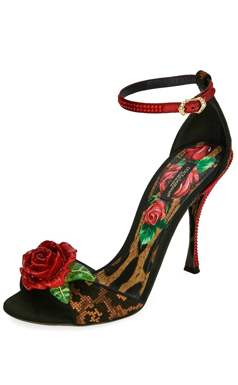 41045ef5454 Dolce   Gabbana leopard   rose high heel sandals