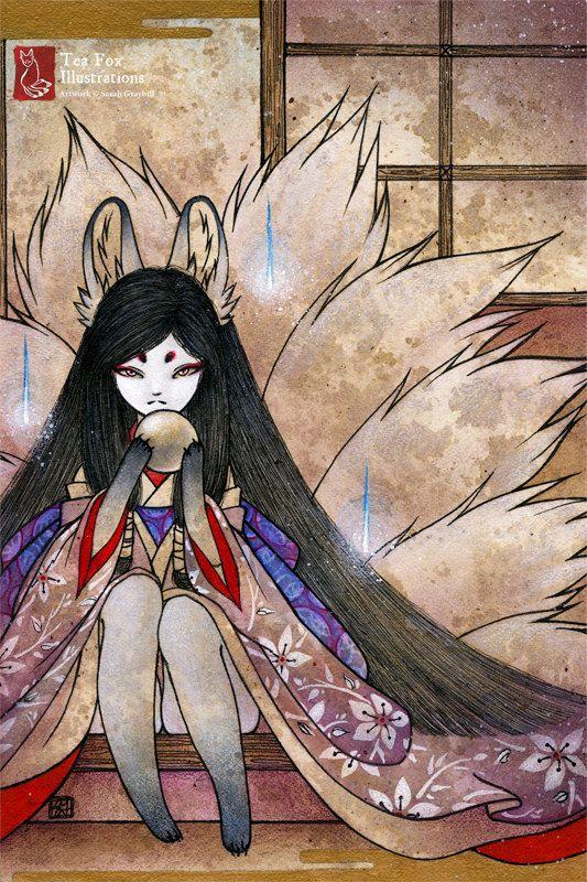 Hoshi No Tama Kitsune Fox Ninetails Yokai Japanese Asian Etsy Fox Illustration Fox Art Kitsune Fox