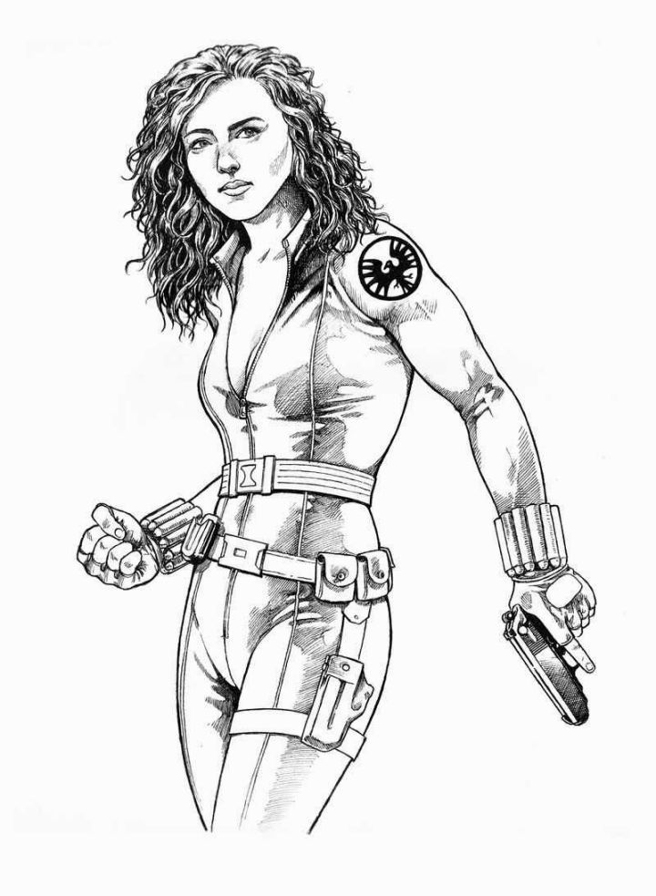 Black Widow Coloring Page Black Widow Superhero Coloring