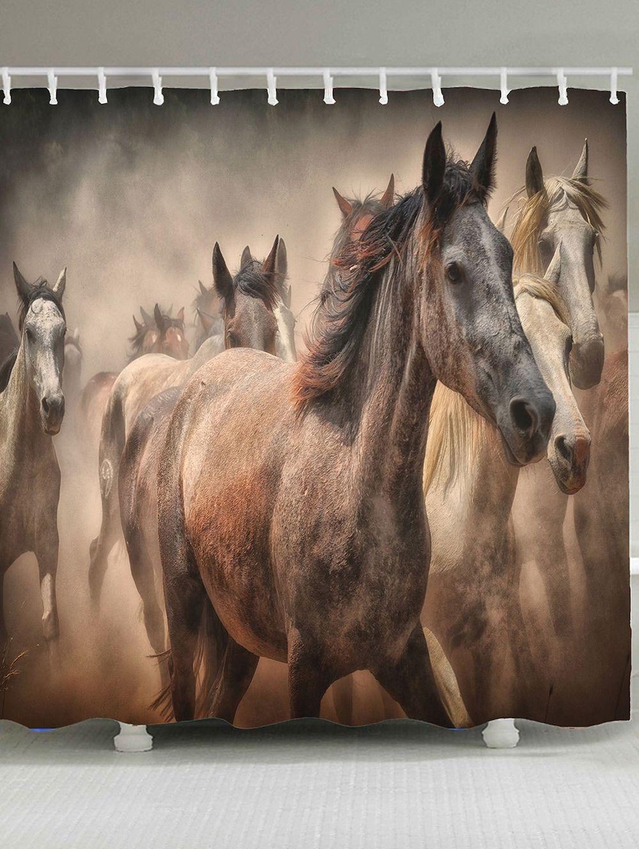 Horses Printed Waterproof Shower Curtain Horses Printed