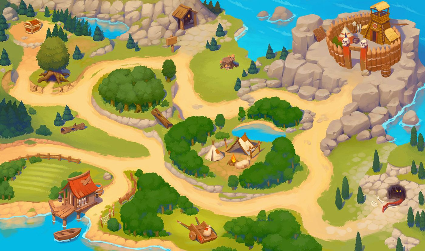 World map and characters for mobile game on behance game maps world map and characters for mobile game on behance gumiabroncs Gallery