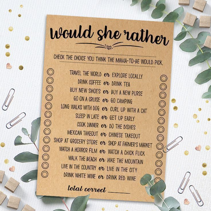 Would She Rather Baby Shower Game, Would She Rather, Who