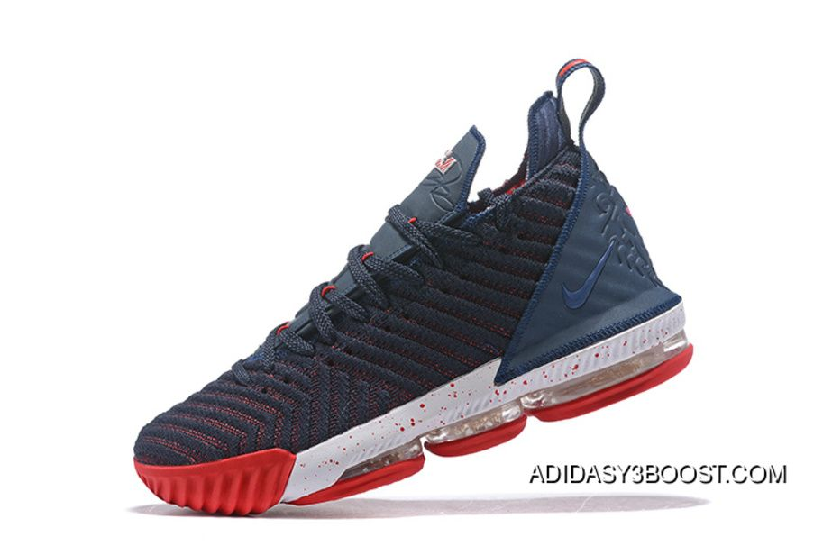 2018 New Nike Lebron 16 Navy Blue Red White Womens Mens Basketball Shoes  For Sale 90653a26aa
