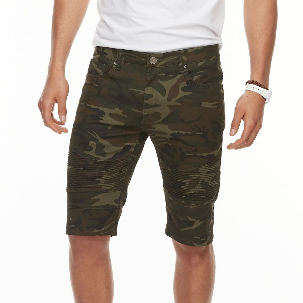 Mens xray slimfit camo moto stretch denim shorts in 2020