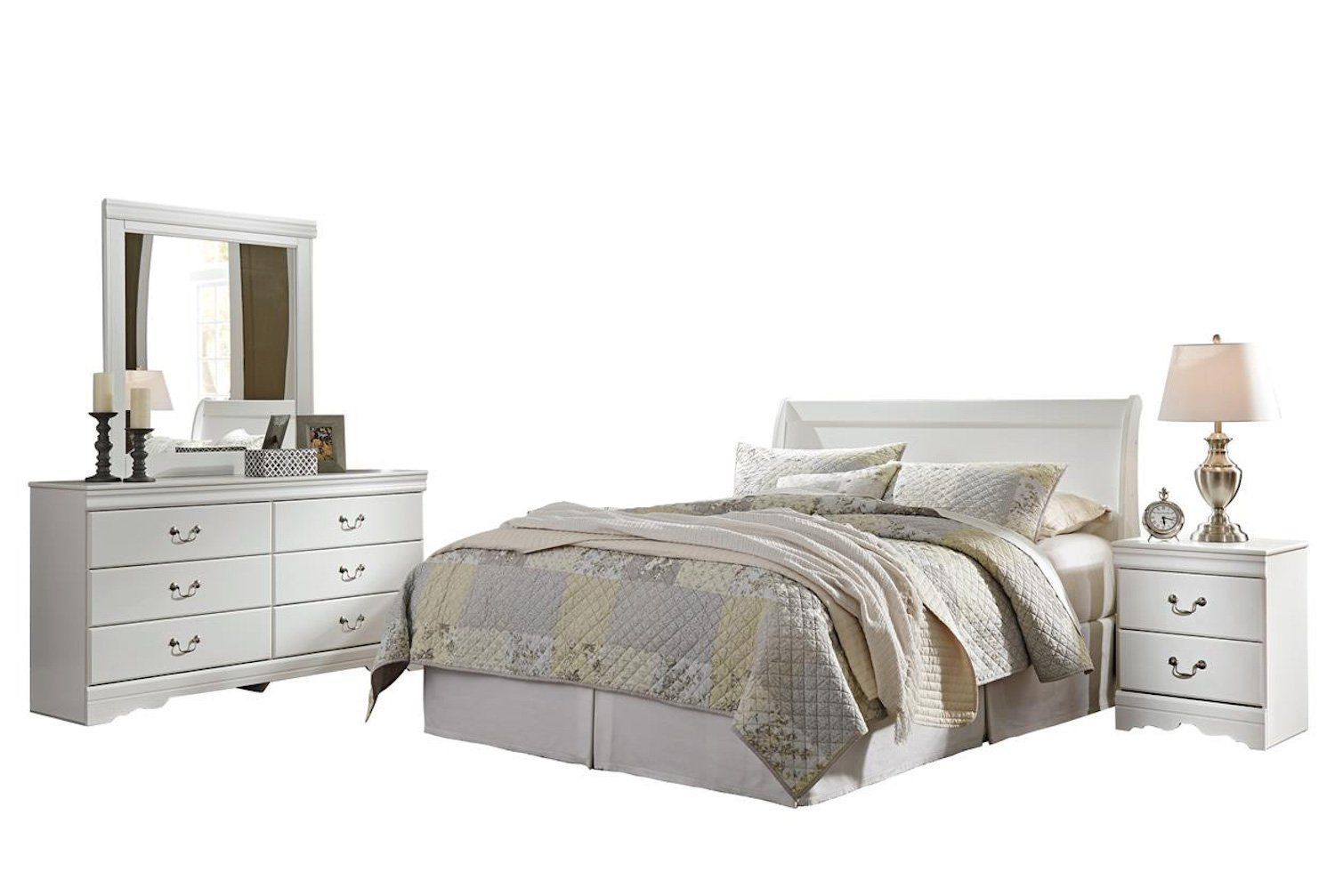 Best Ashley Anarasia 4Pc Queen Sleigh Headboard Bedroom Set In White Be Sure To Check Out This 640 x 480