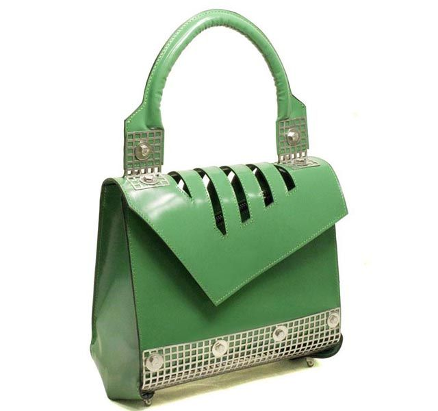 Simply #green #bag with #metal details.
