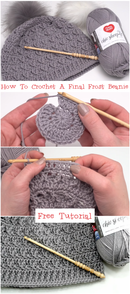 How To Crochet A Final Frost Beanie Tutorial #beaniehats #vestidosparabebédeganchillo