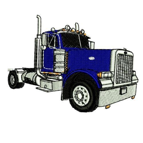 Semi Semi Trailer Truck Tractor Trailer 2 Embroidery Design Semi