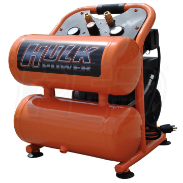 Hulk Power 1HP 4Gallon Twin Stack Silent Air Compressor
