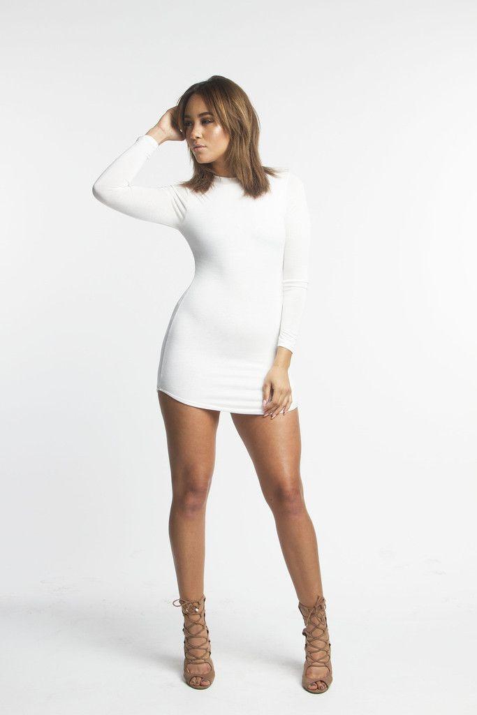 The mystylemode white funnel neck long sleeve mini dress  294e571a8
