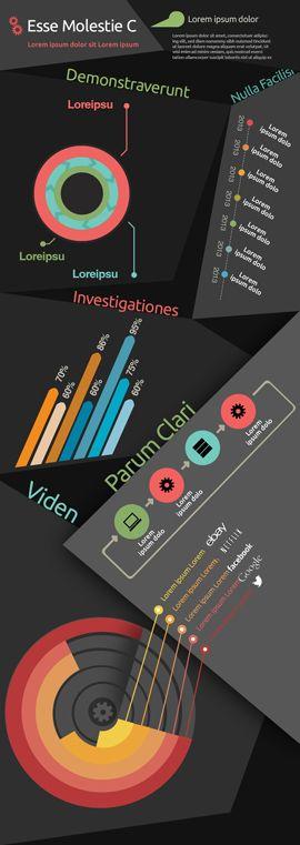 Random shapes infographic charts, bar, histogram and pie charts - histogram template