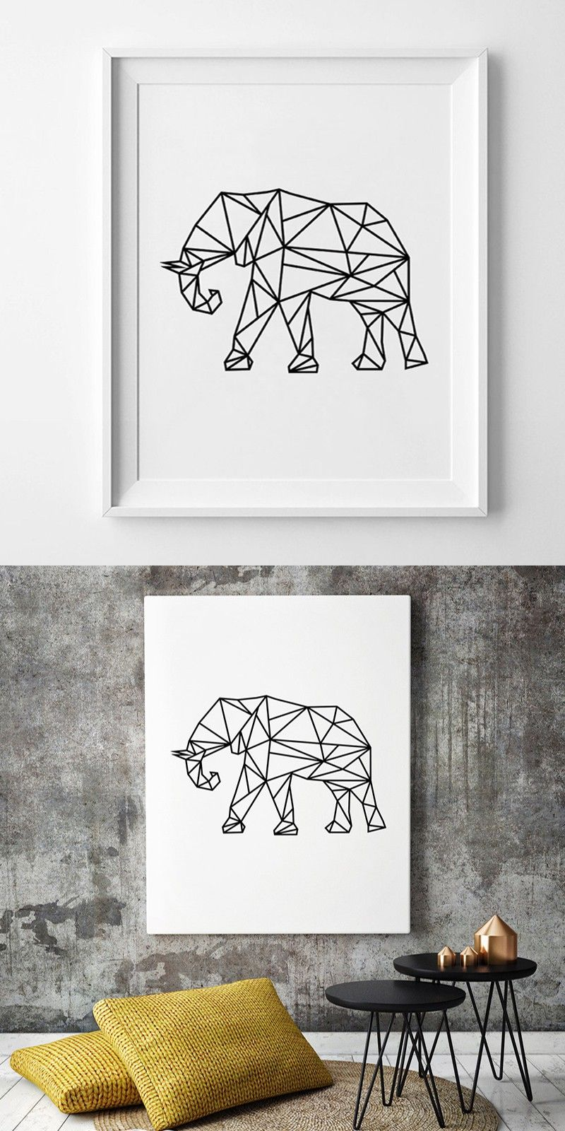 Modern Geometric Elephant Wall Art, Scandinavian Black Art, Canvas ...