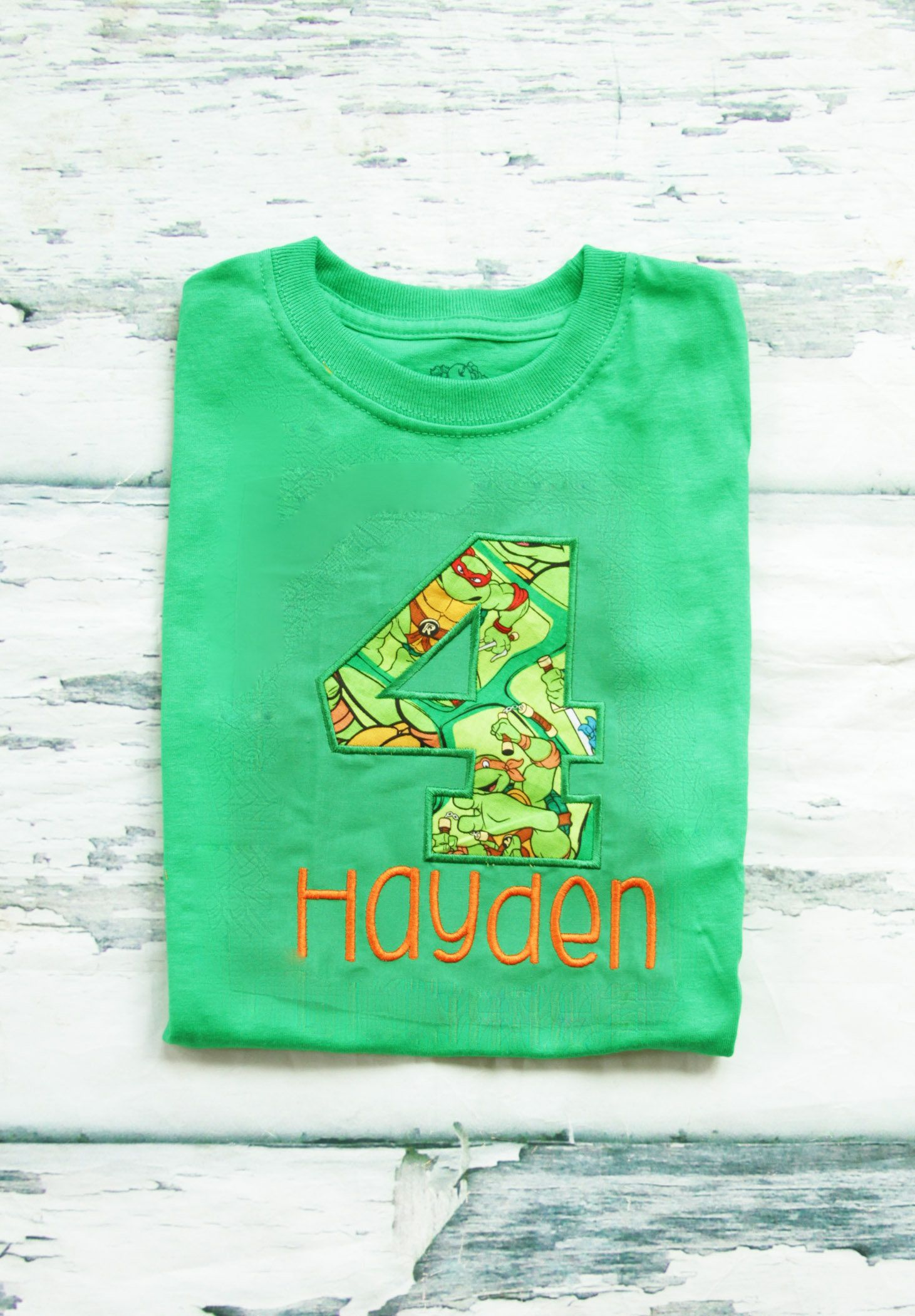 Boy Fourth Birthday Ninja Turtle Themed 4th Shirt Toddler Green With Number 4 By LoveAndLollipopsBaby On