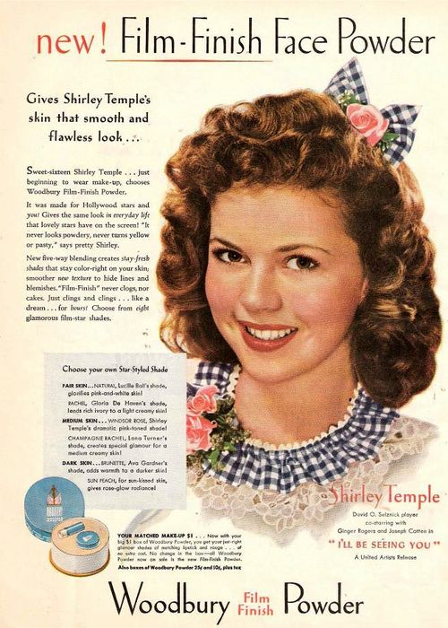 Vintage ad - Woodbury Powder featuring Shirley Temple 1945