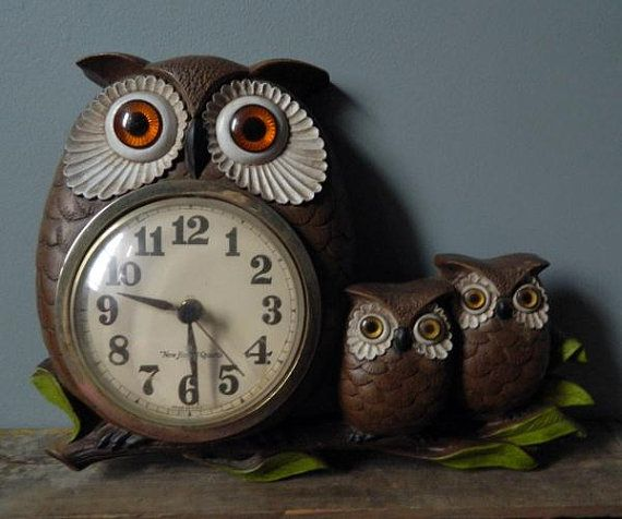 Vintage Owl Kitchen Decor: Vintage Owl Clock Plastic Home Decor