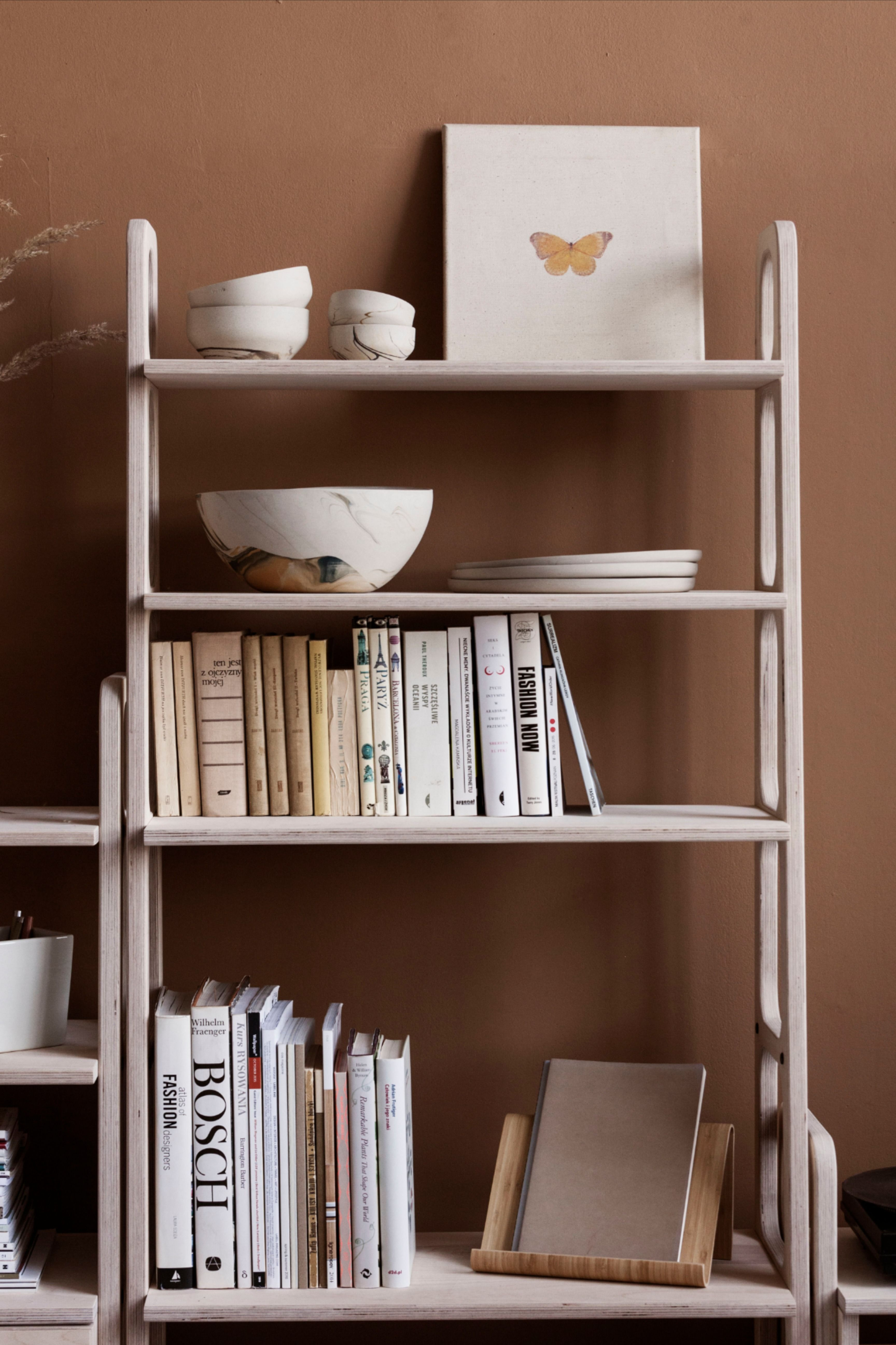Bookshelf Styling Mid Century Bookcase Frisk Maxi With 5 Shelves Scandinavian Design In 2020 Mid Century Bookcase Bookcase Shelves