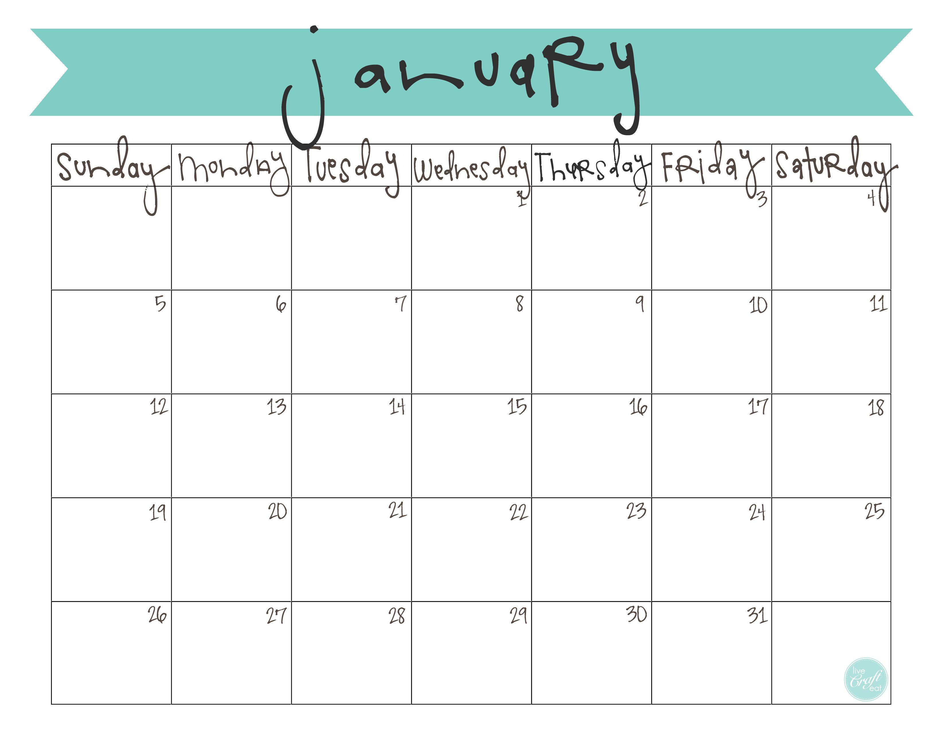 monthly calendar printable free