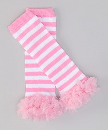 Take a look at this Pink & White Stripe Ruffle Leg Warmers by Miss Fancy Pants on #zulily today!