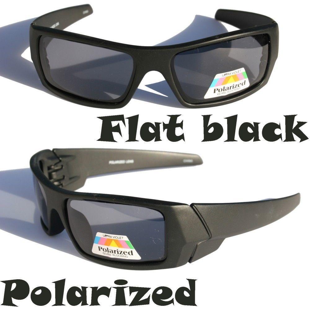 f590d3ad091 Men Matte flat black Polarized Sunglasses Sport Fishing Shield shade ...