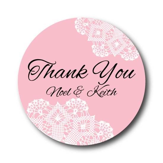 Thank You Favor Lace Theme Custom Wedding Labels Stick Em Up