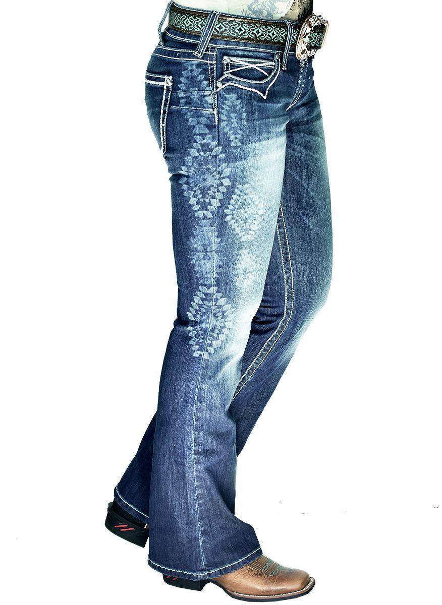 1d52b6343 Calça Ariat Feminina Flare Baltic Jean Calça jeans feminina Ariat, cintura  baixa, azul escura