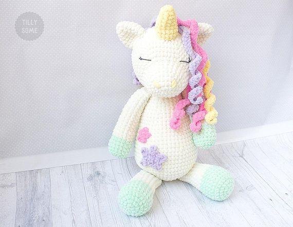 Big Plush Unicorn Crochet Pattern Large Crochet Toy Pattern