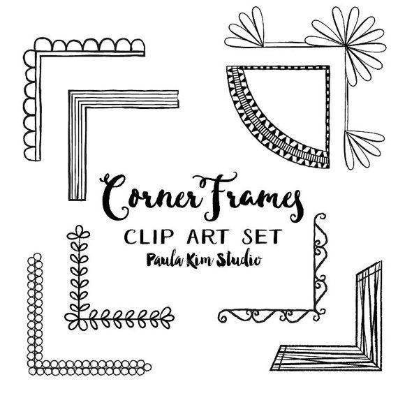 Corner Frames Clipart Set Digital Frame Instant Download Etsy In 2021 Clip Art Clip Art Borders Frame Clipart