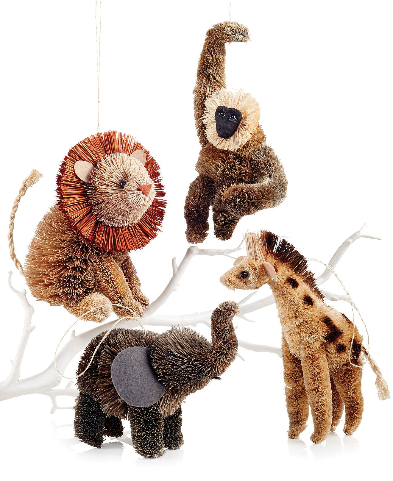 Martha Stewart Set of 4 Jungle Buri Animal Ornaments ...