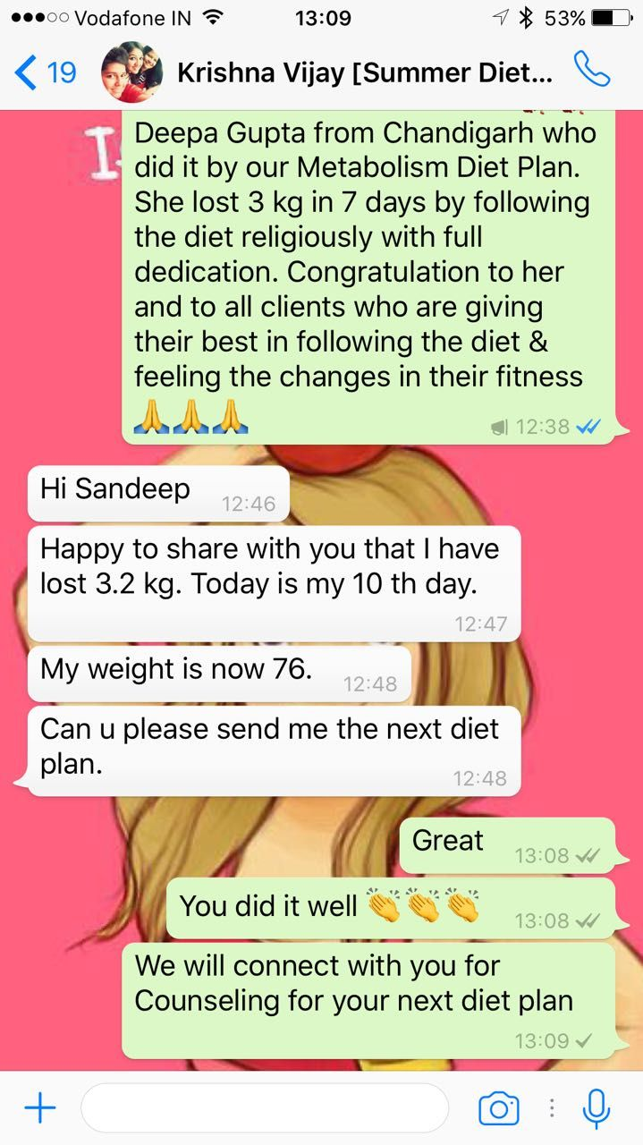 You don't need to tell anyone amongst your family that you lost weight, that you finally did it, let your body make the noise. Let your body speaks for you. This time it's Krishna Vijay from Delhi who did it by following the Customized Diet Plan. She lost 3.2 kg in 10 days only by showing her dedication & discipline in her food habits. Congratulation Ms. Krishna Vijay.  For Your Metabolism Booster Diet Plan:  Call/Whatsapp us @ +919953329177  Email us- support@weightshakefactory.com