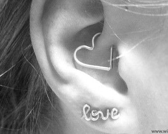FREE SHIPPING Helix Ear Heart Earring Also for Daith by wirewrap