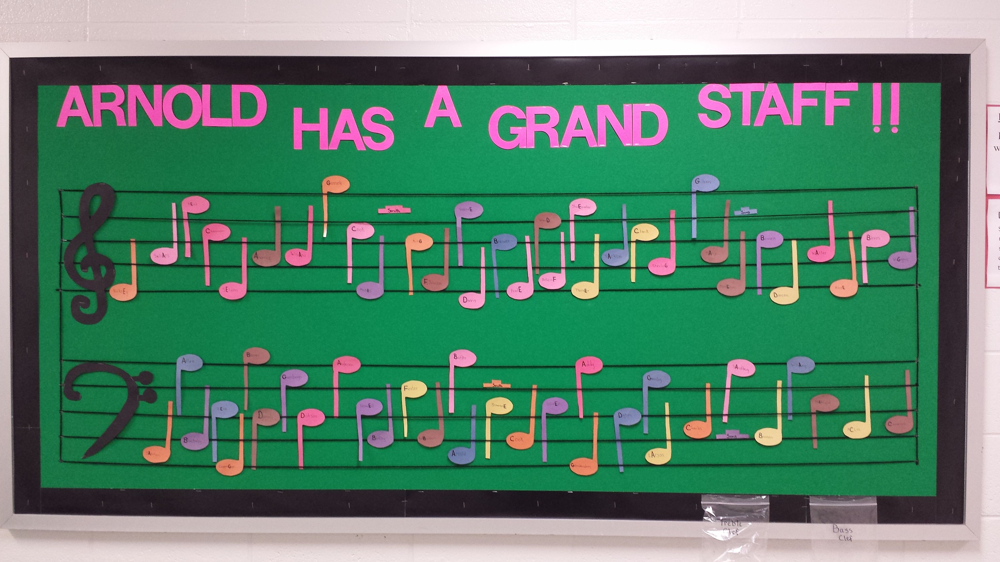 This is the interactive music staff board that I made to help my students learn notes on the staff. I used faculty and staff names at my school to put on the music note. If a faculty or staff member have a letter in their name that goes on a line or space it's capitalized in bold print. The students put that letter on the correct line or space.