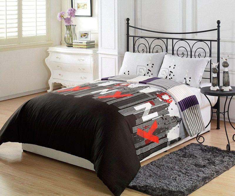 Nyc Comforter Sets 3pcs New York City Black Purple Grey Stripe Reversible Set
