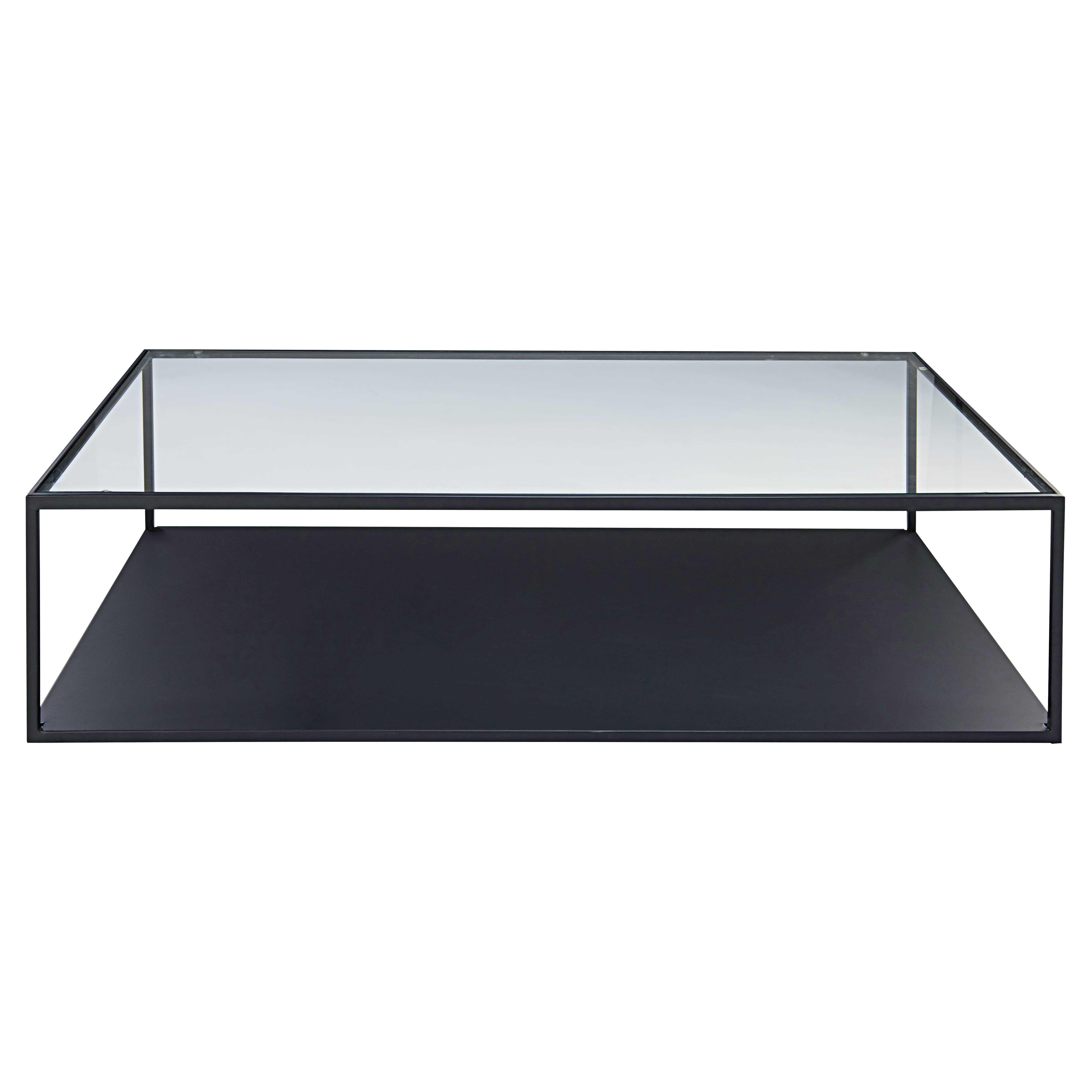 Table Basse En M Tal Noir Et Verre Tremp Watson Salon  # Table Basse Noir Et Blanc Pas Cher