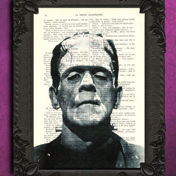 FRANKENSTEIN art print - Horror dictionary art print - black and