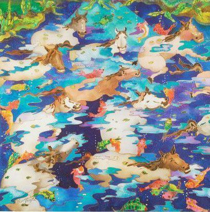 Swimming Ponies I - Limited Edition Giclee on Canvas by Linnea Pergola