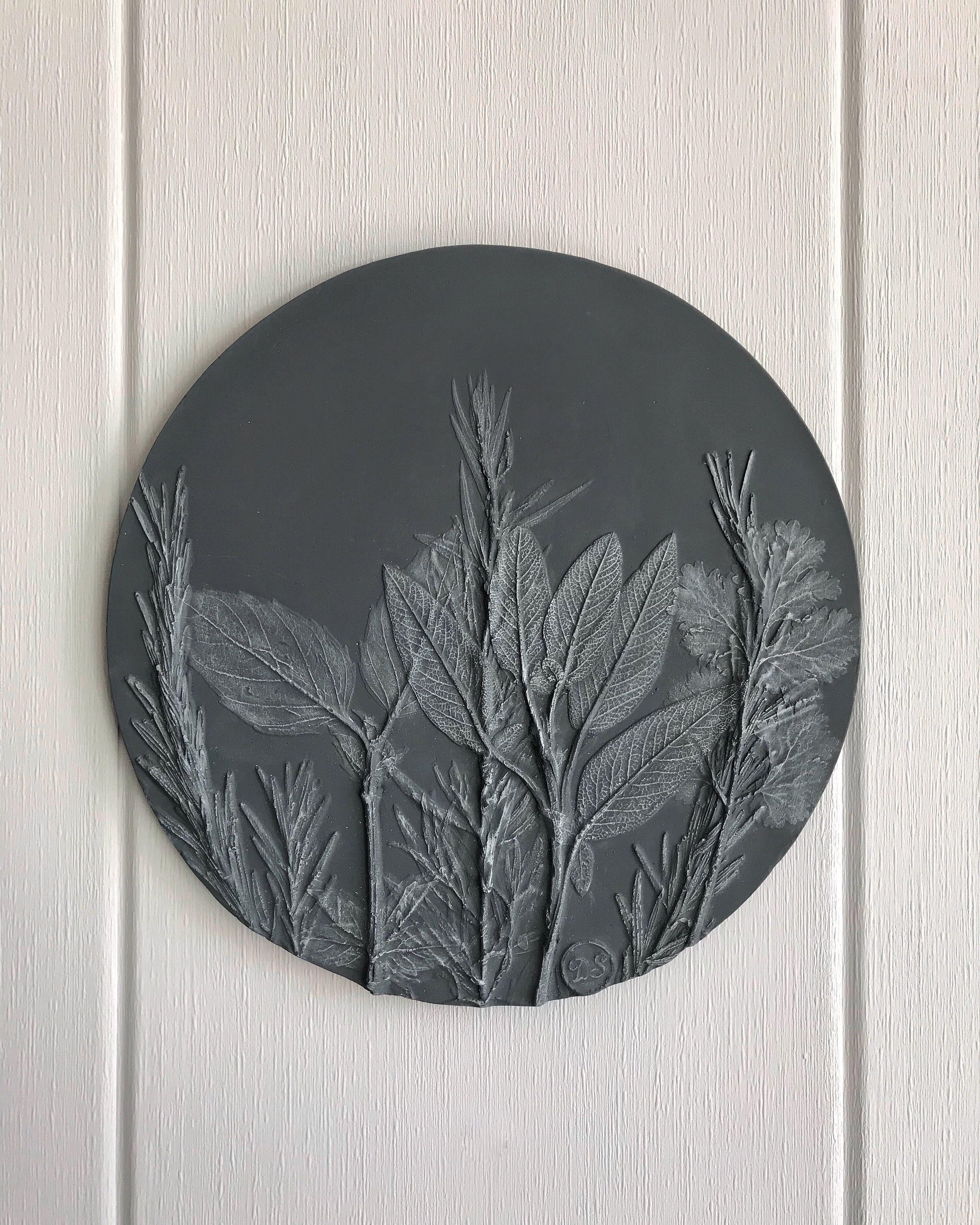 Unique Grey Botanical Bas Relief For Farmhouse Wall Decor Of