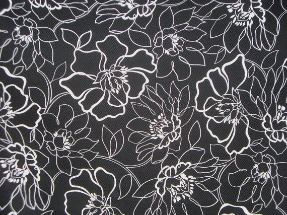 Black and white floral print stretch cotton pique fabric
