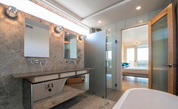 salle de bain simple avec revêtement mural imitation marbre ... - Imitation Meubles Design