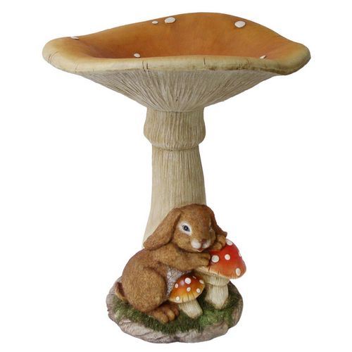 Garden Bunny And Mushroom Birdbath Have This And Love It So Cute Lowes Bird Bath Concrete Backyard Backyard Projects