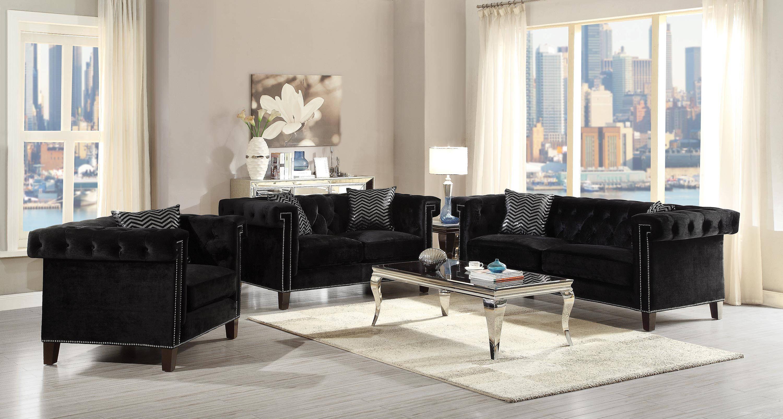 Reventlow Black Velvet Solid Wood Nailhead Trim Living Room Set Living Room Sets Furniture Sofa And Loveseat Set Loveseat Living Room