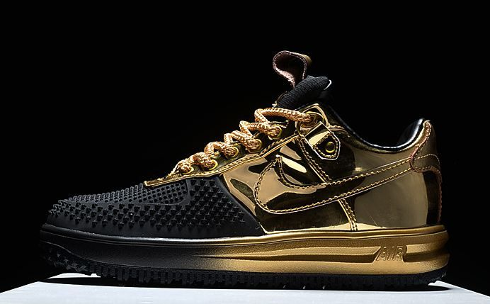 nike air force one lf 1 black gold swoosh 805899 707