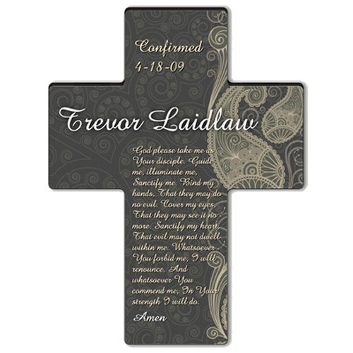 Paisley Praise Personalized #Confirmation Cross. Celebrate a special religious landmark in the life of a loved one with this handsome grey and white personalized paisley cross. Especially suitable for a boy or young man, this personalized cross features the prayer: God please take me as Your disciple. Guide me, illuminate me, Sanctify me. Bind my hands, That they may do no evil. Cover my eyes, That they may see it no more. Sanctify my heart...