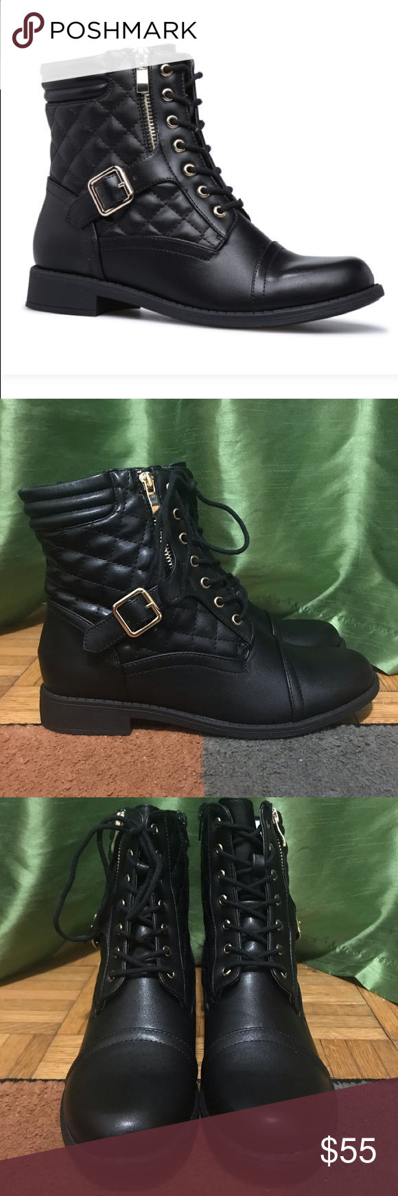 "e3319a2ec1d Shoe Dazzle Black Combat Boots 9W 🖤 🔥🔥 •Material  Faux-Leather •Calf  Circumference  Reg  16.5"" •Fit  True to Size •Color  Black •Outside Heel  Height  1"" ..."