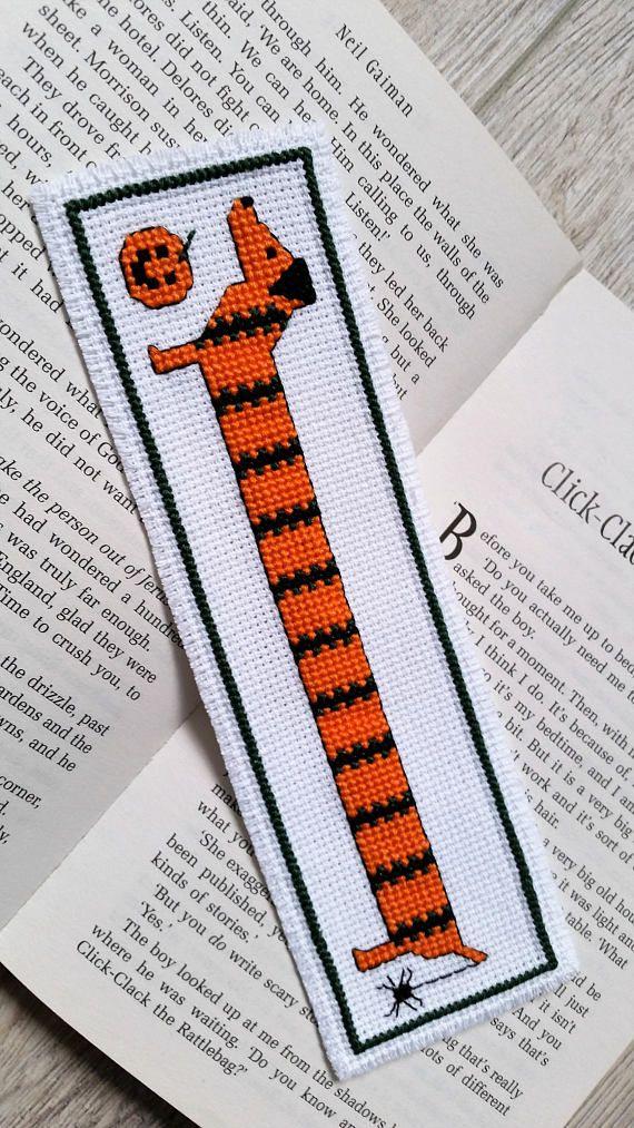 Dachshund Halloween Cross Stitch Bookmark Handmade Funny Book