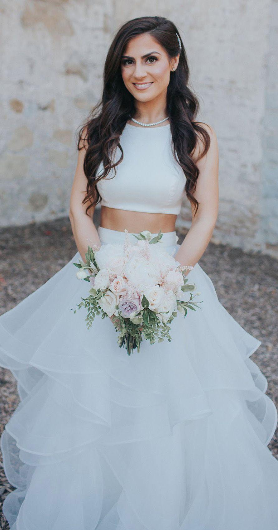 Plus size white wedding dress  Two Piece White Wedding Dresses Ruffle Skirt Ball Gown Wedding Dress